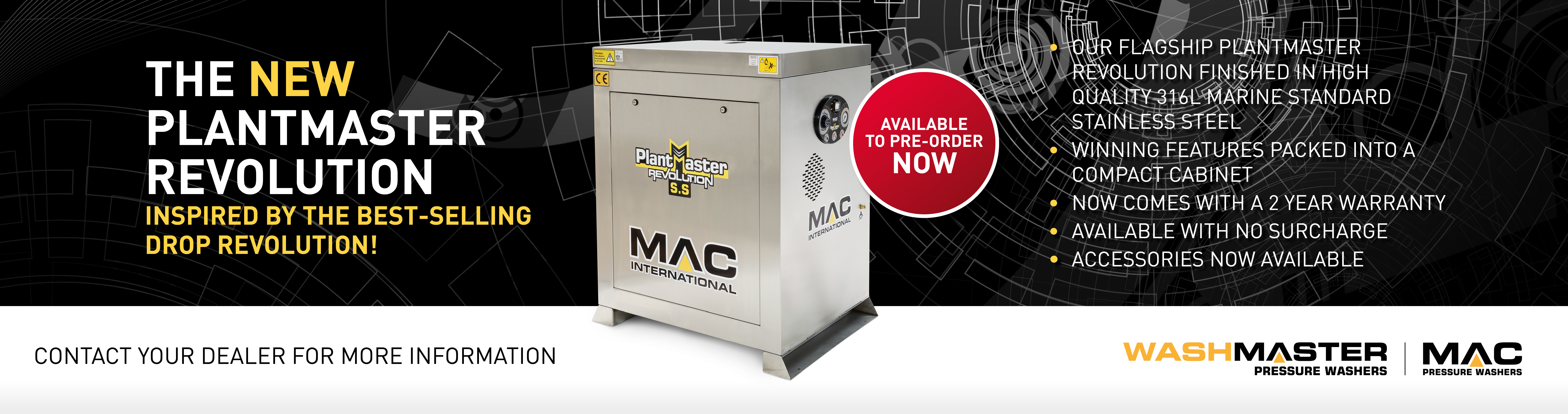 The New Stainless Steel MAC Plantmaster Revolution Hot Static Pressure Washer
